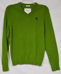 ABERCROMBIE & FITCH Men's Green V-Neck Sweater Large Muscle Fit Long Sleeves #AbercrombieFitch #VNeck