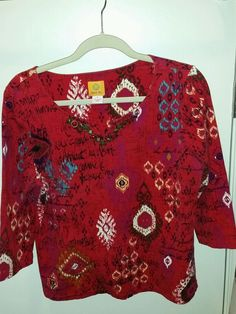 Ruby Rd Size L Red Tribal Print Knit Top 3/4 sleeve Embellished neckline Pre Own #RubyRd #KnitTop #Casual