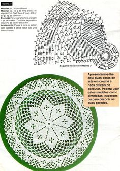 White doily with diagram.