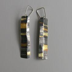 Seamed-Stripe Long Drop Earrings   Contemporary Earrings by contemporary jewellery designer Jessica Briggs