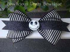 Nightmare Before Christmas Hair Bow Jack by Bowliciousdivas, $9.00 Lizzy u might like this one!!