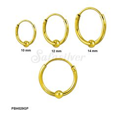 Gold Plated 1.2 MM Thick Plain silver hoops of diameter 10 mm, 12 mm, 14 mm with 3 mm Silver ball Beads