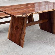 Live Walnut Edge Dining Table W/ Optional Bench by Scott Kestel