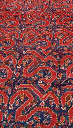 """Snake or cloudband Beshir carpet. At least mid 19th century. 353 x 142cm [11'6""""…"""