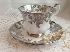Royal Albert Teacup and Saucer Silver by Oldcutvintage on Etsy