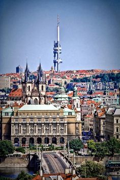 Prague wif de Žižkov television tower in Mala Strana_ Czechia