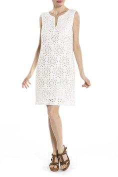 Détails - Robe unie sans manches avec motifs de fleurs couleur blanc Derhy