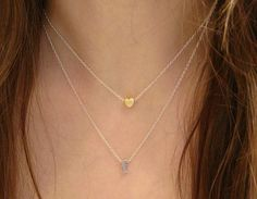 Layered Initial and Heart Necklace Tiny Double by ElegantSwan, $27.75