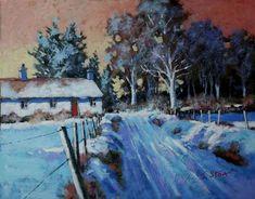 winter landscape snow scene painted in acrylic