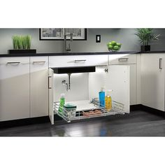 $189.99 · Rev-A-Shelf - 5786-33Cr - 33 In. Chrome Under Sink Pull-Out Organizer - Obtrusive plumbing shouldn't dictate your storage space. Update with a Rev-A-Shelf's chrome wire pullout, outfitted with our unique U-Shaped frame that fits around the peskiest of pipes. #kitchen #kitchenstorageideas