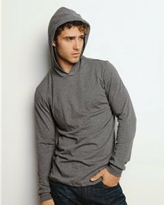 Canvas Canvas- Hooded- Mens' Long Sleeve T-Shirt- Light Weight 100% Cotton -3512 at ShirtSupplier.com