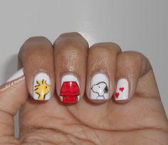 Snoopy and Woodstock Nails Nails Only, Love Nails, Pretty Nails, Nail Manicure, Nail Polish, Pedicure, Snoopy Nails, Japanese Nail Art, Girls Nails