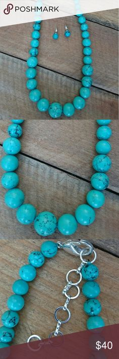 """Genuine Turquoise Ball Necklace Set It is unusual to see turquoise in round balls. However, when I purchase this I was told it was genuine turquoise with sterling silver hardware, although it is not stamped .925. Necklace measures 20"""" with a2 3/4"""" extension. This is a substantial necklace. The balls are honed perfectly round. The largest one measures 5/8"""". Matching post earrings. Jewelry Necklaces"""
