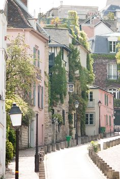 Paris Photography, Streets of Montmartre, soft pink, Paris, France, French Wall Decor, Parisian Architecture, Green Ivy by rebeccaplotnick on Etsy