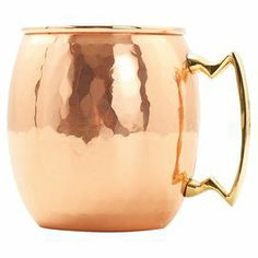 "Hammered copper Moscow Mule mug with nickel lining and brass handles.   Product: Set of 4 mugsConstruction Material: Copper, brass and nickelColor: Hammered copperFeatures: Lacquered to resist tarnishingDimensions: 5.5"" H x 5"" W x 4.5"" D each"