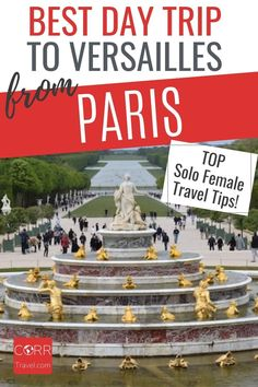 Get the best day trip to Versailles from Paris by train solo female travel tips so you know when and how to beat the crowds in your #Paris over 40 travel and solo travel. By @CORRTravel #CORRTravel Solo Female Travel Tips | Solo Female Travel Destinations | Travel Tips and Tricks | International Travel Tips | France Travel Guide | Travel Planning | Over 40 Travel Paris Travel Tips, Solo Travel Tips, Europe Travel Guide, France Travel, Travel Destinations, Travel Ideas, Budget Travel, Day Trip From Paris, International Travel Tips