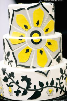 Grey, Yellow, Black, and White Wedding Cake by Tallant House / Alante Photography / Seattle Wedding Cakes