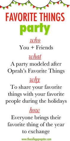 Favorite Things | A Fun Holiday Party Idea