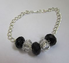 Black Crystal Chain Bracelet by MoYuenCreations on Etsy, $13.00