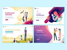 Set of web page design templates for family planning, travel insurance, nature and healthy life. Modern vector illustration concepts for website and mobile website development. - Buy this stock vector and explore similar vectors at Adobe Stock Design Websites, Online Web Design, Web Design Tutorials, Design Templates, Bg Design, Flat Web Design, Web Design Company, Layout Design, Design Market