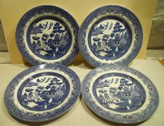 "4 Blue Willow Dinner Plates 10.5"" Churchill China England $17.99"