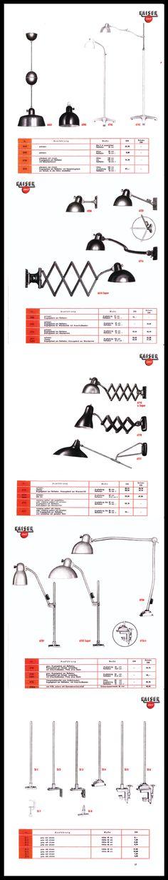 Rare Kaiser & Co. Work Lamp Catalogue 1955 - #KaiserIdell #Kaiser_Idell #ChristianDell #Bauhaus #Modernism #Modernist #Molecula #arbeitslampen #werkstatte #deutschekunst