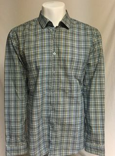 Hugo Boss Blue Green X-Large Long Sleeve Button Front Shirt XL #HugoBoss #ButtonFront