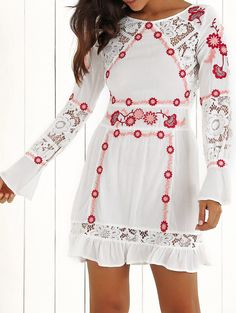 Lace Floral Embroidered Long Sleeve Dress