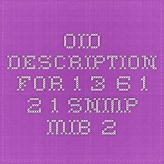OID description for 1.3.6.1.2.1 - SNMP MIB-2