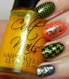 various layerings of Cult Nails polishes