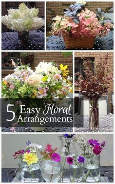 Get inspired by five beautiful summer flower arrangements that you can easily put together with readily available items in your own home.