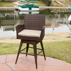Braxton PE Wicker Swivel Bar Stool with Arms - Weaving its way into your heart, the Braxton PE Wicker Swivel Bar Stool with Arms is made from durable wicker. This swiveling bar stool comes in a. Wicker Bar Stools, Outdoor Bar Stools, Swivel Bar Stools, Bar Chairs, Dining Chairs, Counter Stools, Outdoor Benches, Outdoor Ideas, Outdoor Spaces
