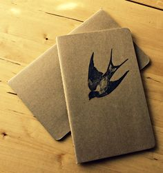 Large Unlined Moleskine Notebook with Swallow. $13.00, via Etsy.