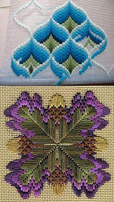 Bargello technique in stitches Hardanger Embroidery, Hand Embroidery Stitches, Cross Stitch Embroidery, Embroidery Patterns, Cross Stitches, Bargello Quilt Patterns, Bargello Needlepoint, Needlepoint Patterns, Crochet Square Patterns