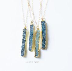 Druzy Bar Necklace, Druzy Necklace, Rectangle Druzy Necklace, 14kt Gold Filled Crystal Necklace, Druzy Jewelry, Bridesmaids Necklace, Drusy