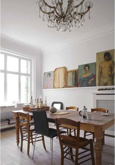 dining room...like the idea of a long shelf to display art.