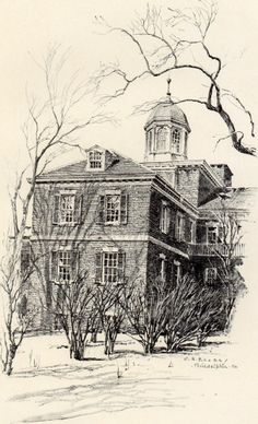 Fine Original 1922 Print of Wing of Pennsylvania Hospital Philadelphia by O.R. E