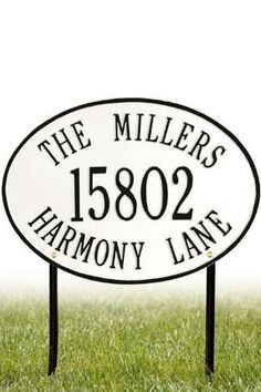 Hawthorne Three-Line Standard Lawn Address Plaque - standard/3 line, White by Home Decorators Collection. $88.00. Hawthorne Three-Line Standard Lawn Address Plaque - This Premium, Textured And Dimensional Lawn Address Plaque Is Designed With Large Letters And Numbers For Maximum Visibility Outdoors. The Standard Hawthorne Design Features A Sophisticated Oval Shape.Our Outdoor House Marker Is Built To Withstand The Elements. It Is Individually Handcrafted Of Hand-Cast Aluminum... Large Letters, Letters And Numbers, Garden Plaques, Hand Cast, It Cast, Second Line, Address Plaque, Outdoor Gardens, Lawn
