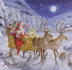 Santa on a moonlit night advent calendar made in England