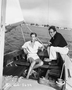 """Humphrey Bogart & Lauren Bacall enjoying an afternoon of sailing. Bogart loved the sea.  He was a lifelong passionate sailor and spent as much time as he could  on his sailboat.  When it came to casting, Bogie was perfect in his iconic roles as a man of sea in """"Mutiny on the Bounty"""", """"The African Queen"""" and """"To Have and Have Not"""" the film production on which he met and fell in love with Lauren Bacall."""
