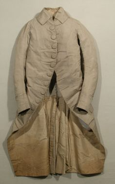 Frock coat  National Trust Inventory Number 1348786 Date1770 - 1780 MaterialsCanvas, Linen, Silk damask, Silk twill, Steel CollectionSnowshill Wade Costume Collection, Gloucestershire (Accredited Museum)