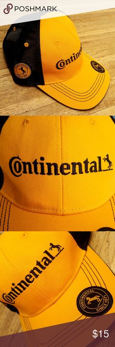 Continental Tire Motorsports Trucker Hat Continental Tires Trucker Hat:  continental makes tires for both racing bicycles, motorcycles, and cars Rear Adjust is Velcro  Size: One Size Fits All  velo cyclocross mtb mountain motor sports racecar car ferrari lamborghini audi vw Accessories Hats