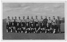 Groundcrew (back row) versus aircrew (front row) football match. Jimmy is 4th from right, front row. © Jimmy Wood collection.