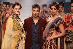 Vikram Phandis with show stoppers Dia Mirza n Bipasha Basu at LFW2014