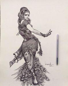 Art Drawings Sketches Simple, Pencil Art Drawings, Indian Art Gallery, Dancing Drawings, Doodle Art Designs, Psy Art, Indian Folk Art, India Art, Indian Art Paintings