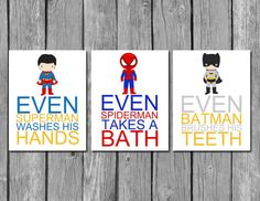 These super hero wall hangings will encourage good hygiene.