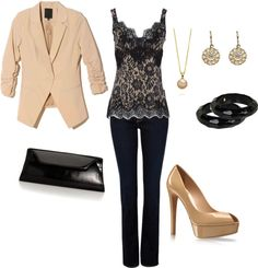 """Black and Nude"" by averbeek on Polyvore"