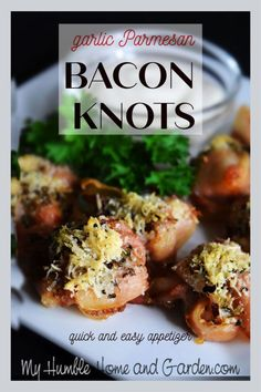 Garlic Parmesan Bacon Knots - Need A Quick Easy Appetizer? - My Humble Home and Garden. Click through for this bacon recipe! Meat Appetizers, Appetizer Recipes, Christmas Party Finger Foods, Italian Seasoning Mixes, Quick And Easy Appetizers, Bacon Recipes, Sandwich Recipes, Garlic Parmesan, Clean Eating Snacks