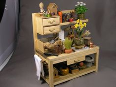 Miniature 1/12 Scale Wooden Potting Bench. by JORGESMINIATURES