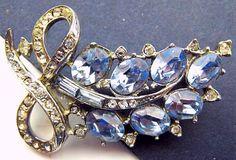 Rhinestone Brooch Pin Blue Baguette & Clear by BrightgemsTreasures, $18.50